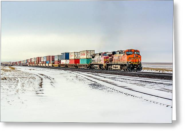 Freight Train Greeting Card by Todd Klassy