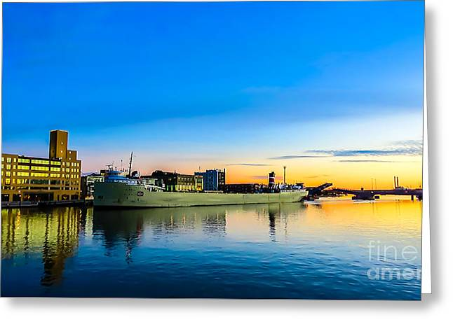 Freighter Alpena On The Fox River Channel In Green Bay Greeting Card