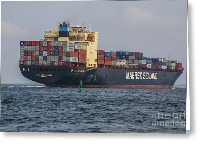 Freighter Headed Out To Sea Greeting Card