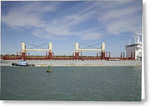 Greeting Card featuring the photograph Freighter Heading To Port by Bradford Martin