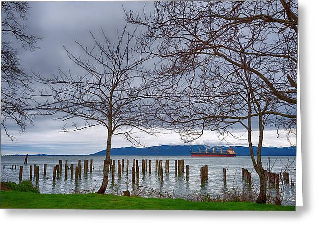 Freighter On The Columbia Greeting Card