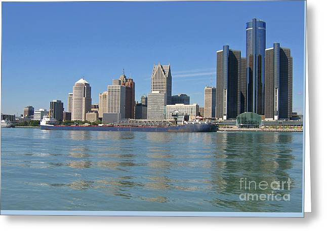 Freighter Passes Detroit Greeting Card