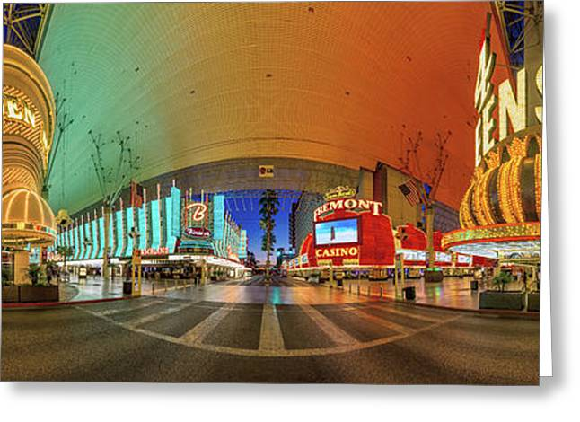 Fremont Street Experience Panorama 3 To 1 Aspect Ratio Greeting Card by Aloha Art