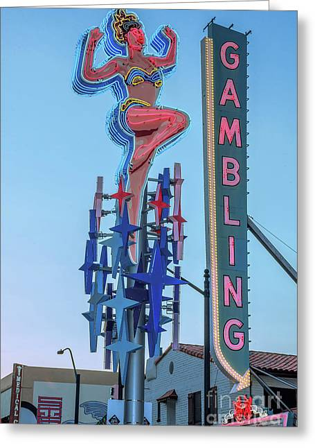 Fremont Street Lucky Lady And Gambling Neon Signs Greeting Card