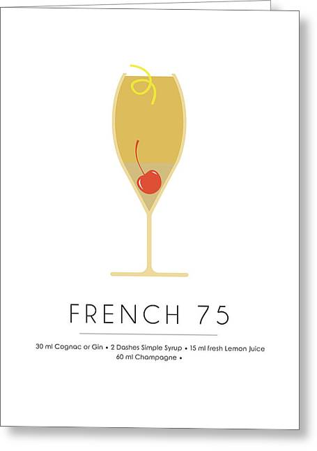 French 75 Classic Cocktail - Minimalist Print Greeting Card