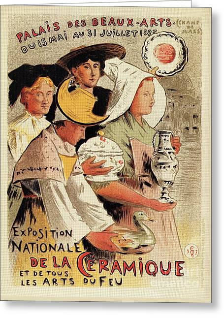 French Belle Epoque Pottery Expo Advertising Greeting Card