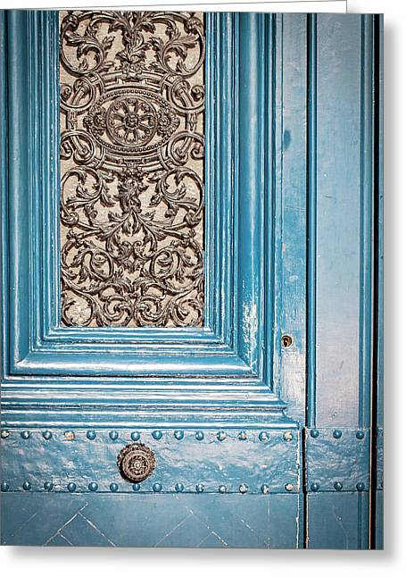 Greeting Card featuring the photograph French Blue - Paris Door by Melanie Alexandra Price
