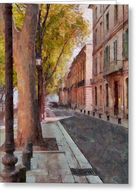 French Boulevard Greeting Card by Scott Carruthers