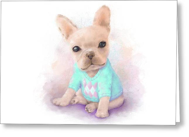 French Bull Dog Puppy Sits On A White, Watercolor Painting Greeting Card by Oksana Ariksina