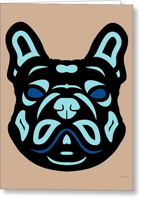 French Bulldog Francis - Dog Design - Hazelnut, Island Paradise, Lapis Blue Greeting Card