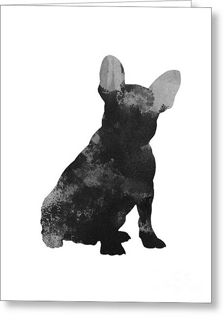 French Bulldog Silhouette Minimalist Painting Greeting Card