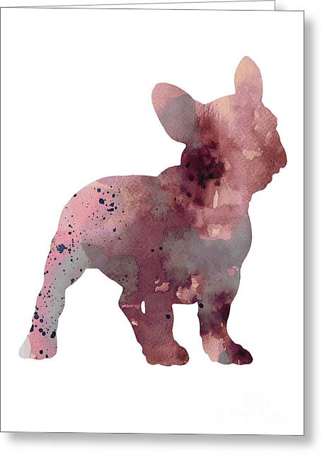 French Bulldog Silhouette Watercolor Art Print Greeting Card