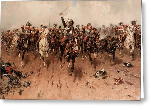 French Cavalry Charging Greeting Card