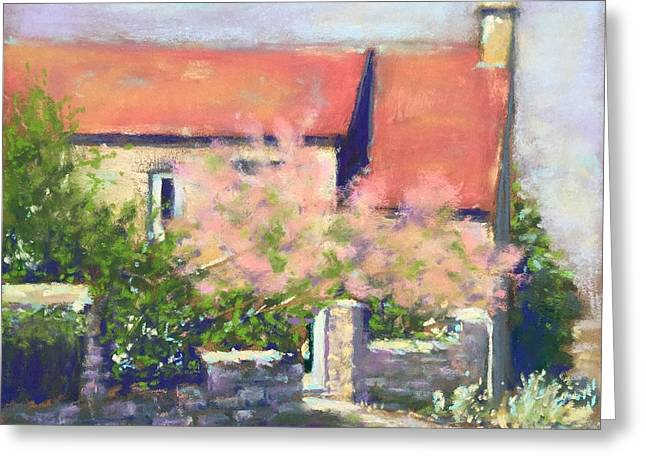 Greeting Card featuring the pastel French Cottage by Rebecca Matthews