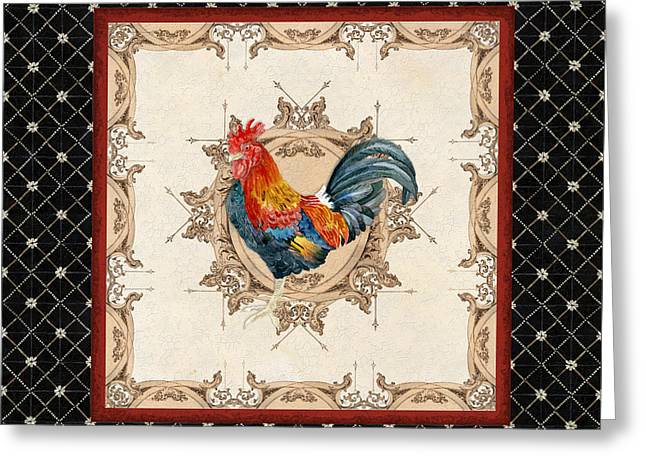 French Country Roosters Quartet Black 2 Greeting Card by Audrey Jeanne Roberts