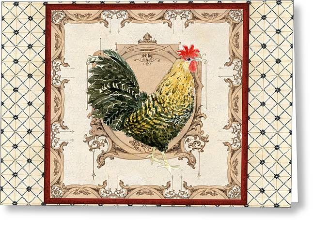 French Country Roosters Quartet Cream 3 Greeting Card by Audrey Jeanne Roberts