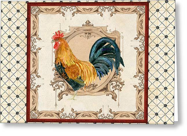 French Country Roosters Quartet Cream 4 Greeting Card by Audrey Jeanne Roberts