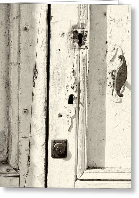 French Door Photographs Greeting Cards - French Door Detail 2 Greeting Card by Nomad Art And  Design
