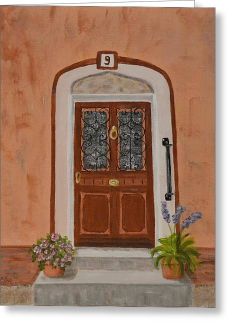 French Door Number Nine  Greeting Card by Nancy Otey