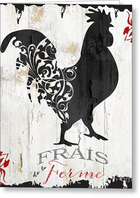 French Farm Sign Rooster Greeting Card by Mindy Sommers