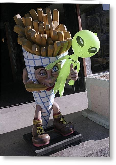 French Fried Alien Greeting Card by Richard Henne