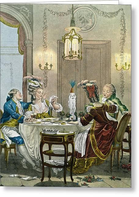 French Gentry Dining In The 18th Greeting Card by Vintage Design Pics