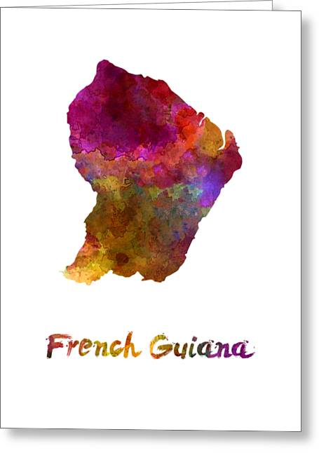 French Guiana In Watercolor Greeting Card by Pablo Romero