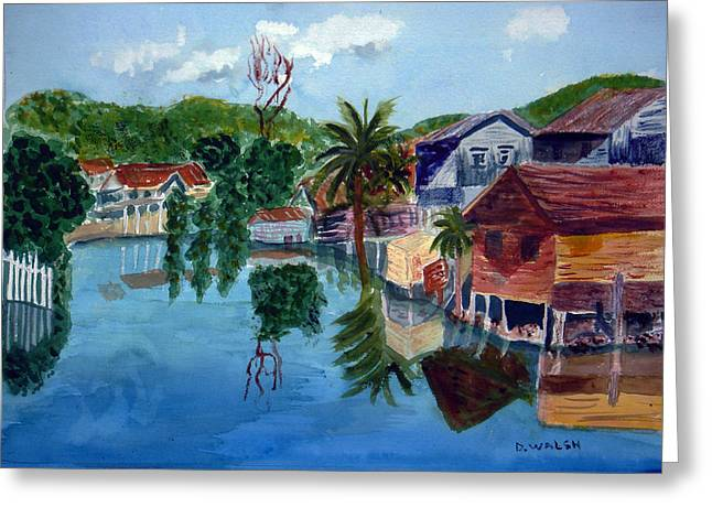French Harbor Isla De Roatan Greeting Card