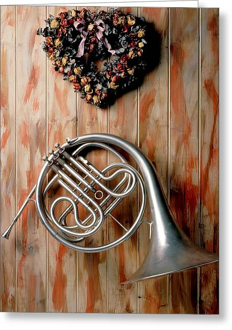 French Horn Hanging On Wall Greeting Card by Garry Gay