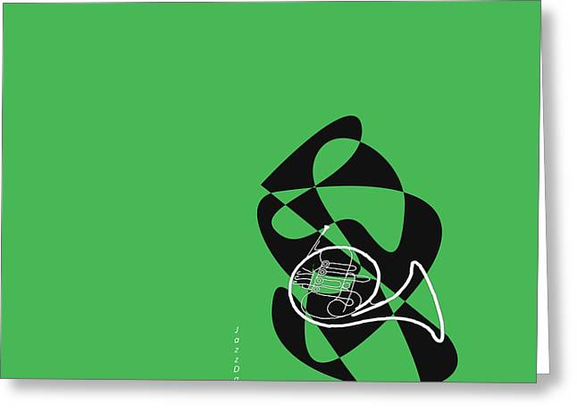 French Horn In Green Greeting Card