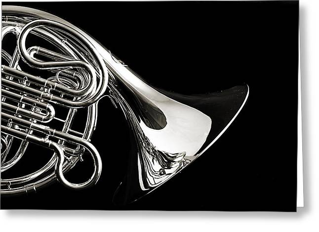 French Horn Isolated On Back Greeting Card