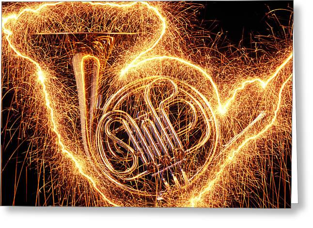 Noise . Sounds Photographs Greeting Cards - French horn outlined with sparks Greeting Card by Garry Gay
