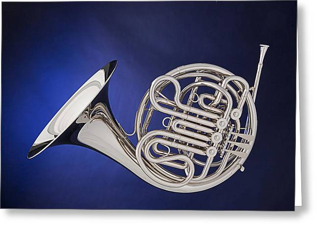 French Horn Silver Isolated On Blue Greeting Card