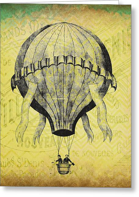 French Hot Air Balloon Greeting Card by Brandi Fitzgerald