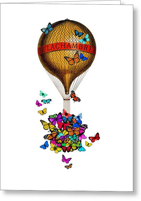 French Hot Air Balloon With Rainbow Butterflies Basket Greeting Card