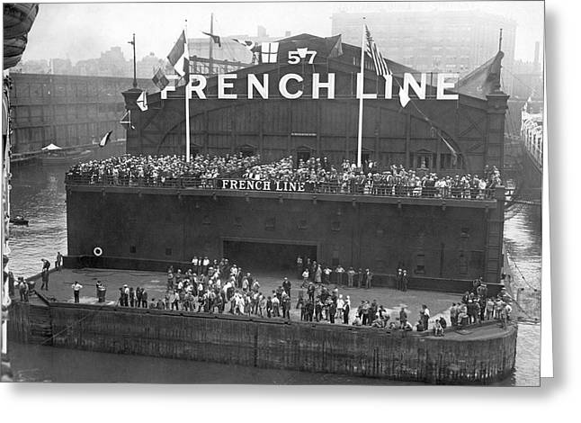 French Line Pier In New York Greeting Card by Underwood Archives