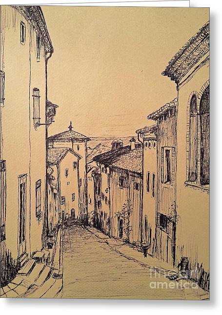 French Little Town Drawing Greeting Card