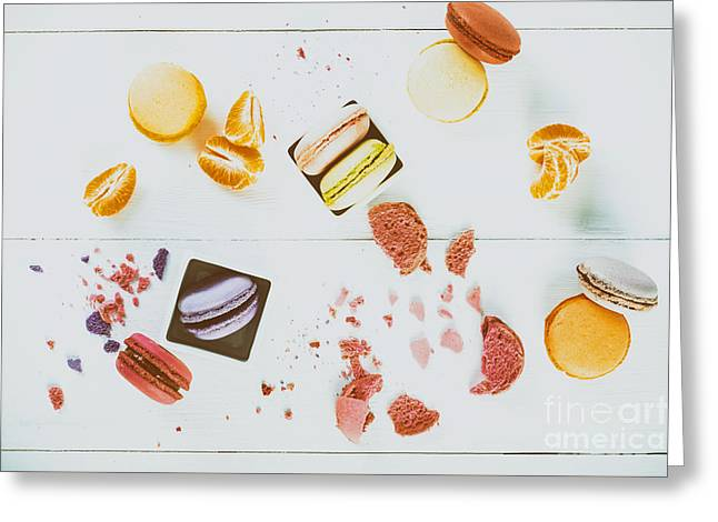 French Macaroons With Tangerine Slices On Wood Table Greeting Card