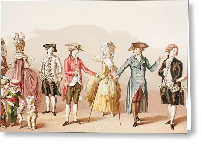 French Men S Fashions During The Reign Greeting Card by Vintage Design Pics