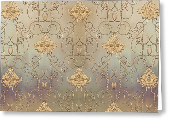 French Parisian Damask Swirl Vintage Style Wallpaper Greeting Card by Audrey Jeanne Roberts