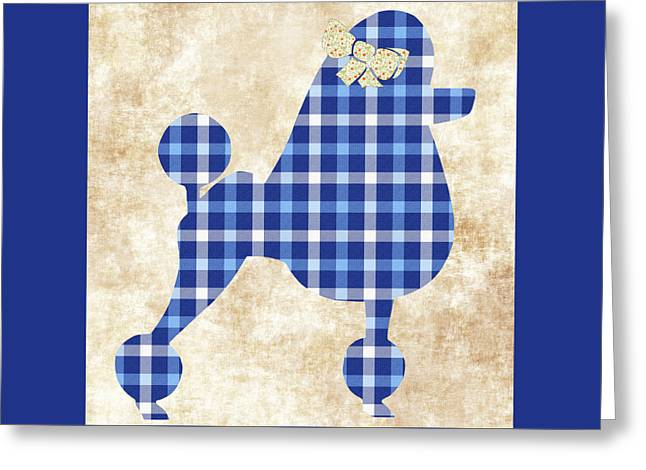 Greeting Card featuring the mixed media French Poodle Plaid by Christina Rollo