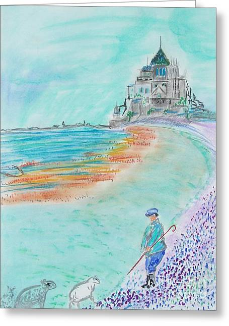 French Postcard Greeting Card by Geraldine Liquidano