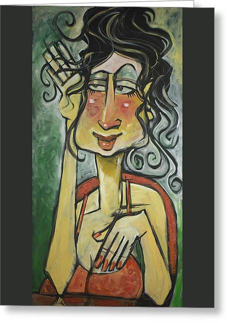 French Press Woman Greeting Card by Tim Nyberg