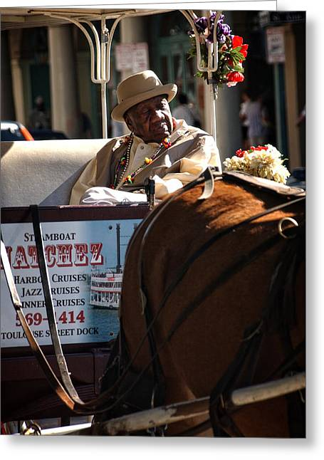 French Quarter Carriage Greeting Card by Chrystal Mimbs