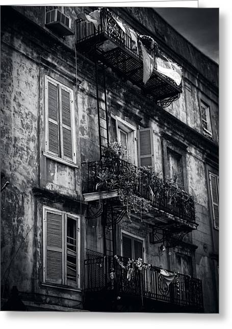 French Quarter Shutters And Balconies In Black And White Greeting Card