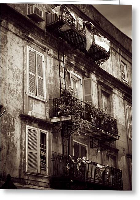 French Quarter Shutters And Balconies In Sepia Greeting Card by Chrystal Mimbs