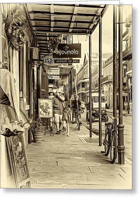 French Quarter Sidewalk - Sepia Greeting Card by Steve Harrington