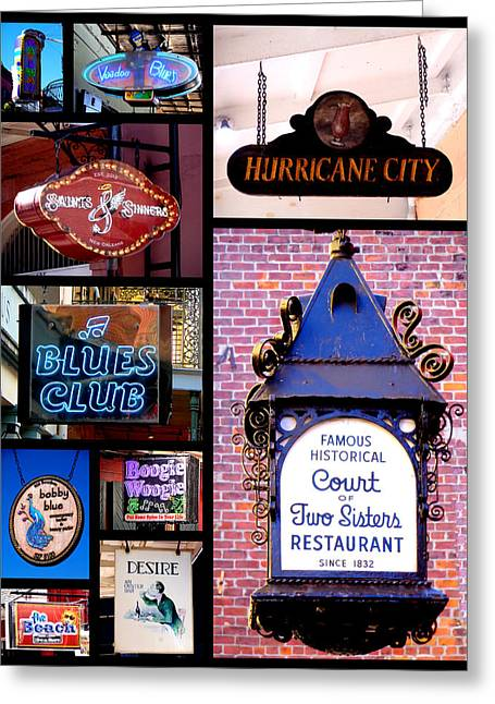 French Quarter Sign Collage Greeting Card