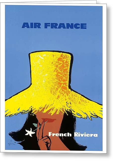 French Riviera South Of France Vintage Airline Travel Poster Greeting Card