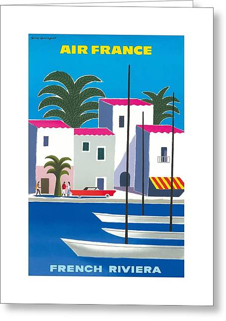 French Riviera Vintage Airline Travel Poster By Guy Georget Greeting Card